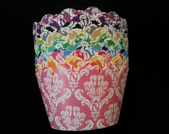 Custom Damask Cupcake Wrappers- Choose from 18 Colors