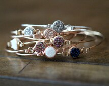 Druzy Stacking Bracelets , Bezel Wrapped Gemstone Bangle in Silver Gold or Rose Gold , Stackable Gift Ideas