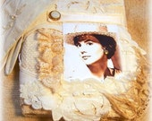 Now ON RESERVE for Susanna Fabric Memory book, scrapbook, Natalie Wood, journal book, lace, shabby chic, romantic gift
