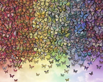rainbow of butterflies aflutter - 8X10 inch digital illustration art print, butterfly mariposa insects flying colorful fantasy bugs sky