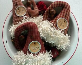 Primitive Santa Hat Ornie tuck bowl filler ornies Santa's hat