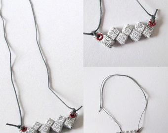 Patterned Paper Necklace - Monochromatic With a Pop of Red