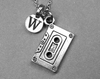 Cassette tape Necklace, Cassette Necklace, Music tape, personalized jewelry, initial necklace, silver plated pewter, monogram letter