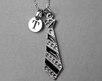 Neck Tie Necklace, Mens Tie Necklace, Personalized Jewelry, Initial necklace, silver plated, Personalized necktie, monogram, initial jewelry