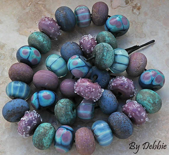DSG Beads - Artisan Debbie Sanders Glass Handmade Lampwork Glass Beads Organic Beads - Made To Order ~Whimsy Forest Fairy~ Set of Rounds