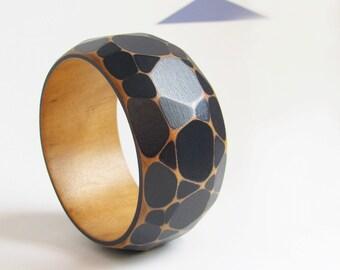 Faceted Wood Bracelet, Modern Jewelry, Wooden Geometric Bangle, Darkest Midnight Blue, Geometric Jewelry, small-medium