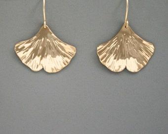 14k Gold filled ginkgo leaf earrings, Rachel Wilder Handmade Jewelry