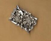vintage clasp silvertone flower clasp art nouveau design clasp ornate,THREE strand antique clasp BIG BOLD clasp