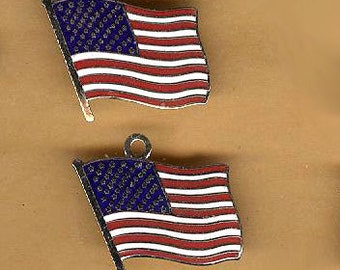 vintage american flag charms two flags made in japan enamel TWO antique flag charms for bracelet or pendant patriotic charm