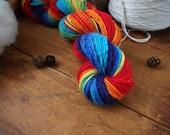 Handspun Yarn, Hand Dyed Alpaca/Merino Wool Yarn, Light Worsted Weight Handspun -  Rainbow