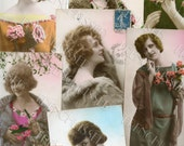 21 Vintage Art Deco 1920s French Postcards of  Women with French Script and Postage Stamps