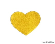 Gold Heart ...Fabric Iron On Applique