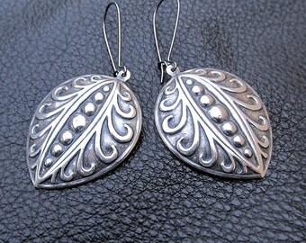 Long silver earrings Boho Chic earrings Simple everyday dangle earrings Bohemian jewelry
