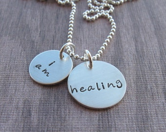I am healing necklace inspirational jewelry self love healing encouragement Ready to ship