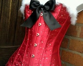 LAST ONE sexy santa CORSET christmas costume pin up mrs claus red black white boned basque bling diamante size medium