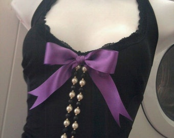 purple and black VINTAGE upcycled slip dress gothic pin up reconstructed goth party US size 12 - 14