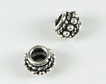 Rope and Dots Large Hole Rondelle Beads Bali Sterling Silver 8mm x 6mm with 3.5mm hole (2 beads)