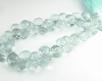 Sea Glass Green Quartz Faceted Chubby Onion Candy Kiss Gemstone Briolettes Beads 8mm (10 gems)