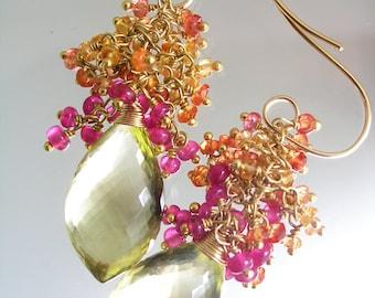 Sapphire Ruby Tassel Earrings, Cascading Gemstones, Lemon Quartz, Gold Filled, Gemstone Dangles, Artist Made, Runway, Original Design