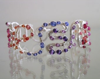 Sculptural Silver Wide Bracelet, Gemstone Studded, Ruby, Amethyst, Sapphire, Tanzanite, Scribble, Striking, Original Design, Signature