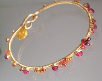 Ruby Sapphire Gold Filled Bangle, Wire Wrapped Bracelet, Stackable, Birds Nest Charm, Tangerine, Fuchsia, Original Signature, Made to Order