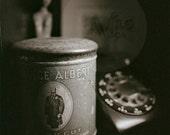 Let Him Out - Prince Albert Tin Can and Vintage Phone Still Life Sepia Toned Film Photography Print -Vintage Black Telephone Photo