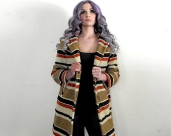 1960s Wool Stripe Sweater Jacket Medium Large  BUS STOP Label MOD Hippie