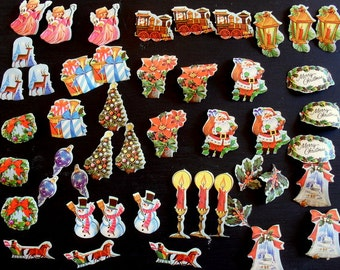 45 Vintage 1950's 1960's Christmas Gift Card Stickers