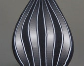 Black and Grey Polymer Clay Striped Petal Cane- 'Mortal Coil' series (41dd)