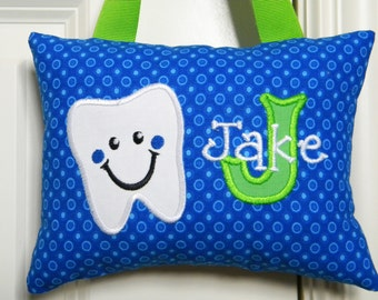 Tooth Fairy Pillow - Boys Personalized Blue Circles