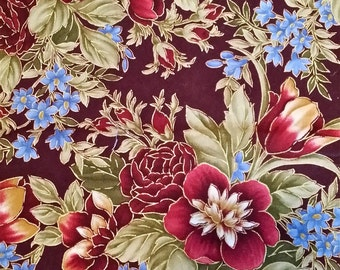 Floral Fabric w Gold, Burgundy, Periwinkle Blue, Green, 1 yard