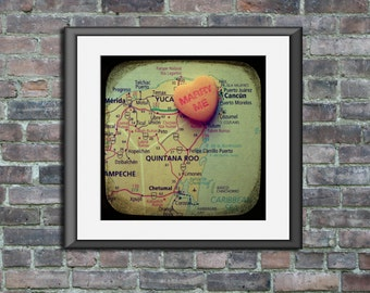 Map art print marry me Cancun Mexico candy heart custom engagement wedding anniversary gift wall decor
