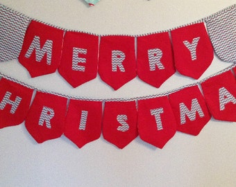 SALE Merry Christmas Fabric Banner, Bunting Decoration, Merry Christmas Holiday Banners, Photo Props, Bunting