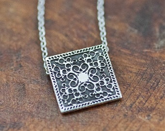 Sterling Silver Etched Squared Scroll Necklace