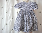 ON SALE!  Vintage Toddler Girl Navy Daisy Flower Dress, Sylvia Whyte, Waist Sash Tie Belt, Size 3T, Cotton