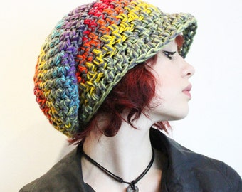 Peace Rainbow Love Rasta Beret Hat slouch Grey