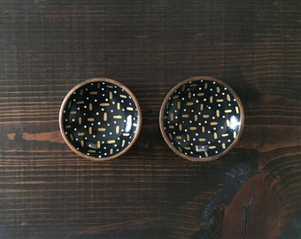 Miniature Circle Dish SET (3in each) : Gold Dash