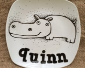 Hand Painted Hippo Porcelain Plate customized with your choice of name