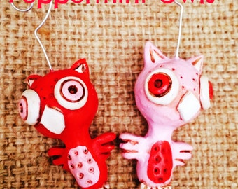 Set of Two Red and Pink Peppermint Owl Ornaments