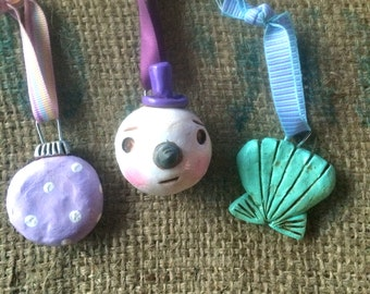 Set of Three Christmas Ornaments in turquoise and purple snowman seashell