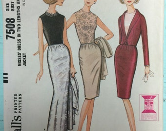 Vintage 1960 McCall's 7508 Dress Pattern - Size 14 Bust 34 - Vintage McCall's Pattern / 60s McCall's / Sewing Pattern / 60s Pattern