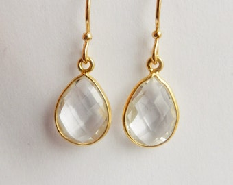 Gold earrings with Crystal quartz teardrop  wedding jewelry, Gold plated sterling silver, gold, vermeil earrings
