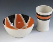 Ceramic Pottery bowl in orange and black San Francisco Giants Halloween