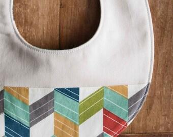 Colorful Organic Baby Bib; Chevron Stripes Newborn Baby Bib Gift for Newborn Baby Girls and Boys; Organic Drool Bib; Modern Baby Bib Gift