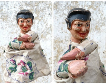 Vintage Antique 1900/1930  French  puppet compo paper mache head punch & Judy Guignol