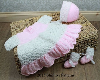 KNITTING PATTERN For Baby Double Trellis Dress, Bonnet & Bootees PDF 192 Digital Download