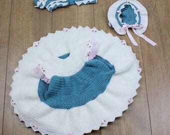 CROCHET PATTERN For Dress, Shrug & Bonnet PDF 156