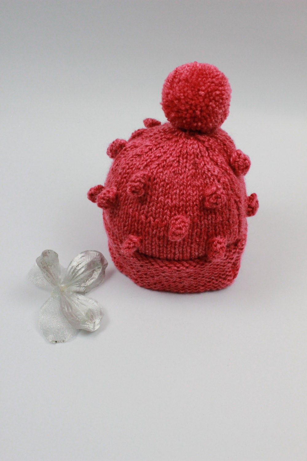 KNITTING PATTERN For Bobble Hat Beanie in 2 Sizes PDF 128h