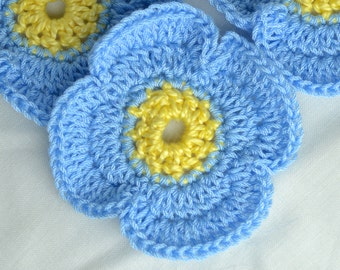 Large Pale Blue and Yellow Crochet Poppy Flower - Lapel Pin Brooch Hat Bag or Scarf Accessory - Baby Blue - Poppy Day Remembrance Armistice