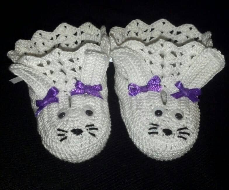 Crochet Bunny Baby Booties Pattern : Crochet Easter Bunny Baby Booties. Baby Girl Shoes. by hrs09